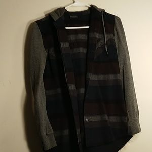 Striped button down light weight jacket.